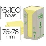 Bloc de notas adhesivas quita y pon recicladas en torre Post-it 76 x 76 mm 16 blocs 654 reciclado