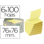 Bloc de notas adhesivas quita y pon recicladas en torre r330-1b Post-it 76 x 76 mm 6 blocs de 100 hojas