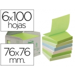 Bloc de notas adhesivas quita y pon recicladas en torre r330-1gb Post-it 76 x 76 mm 6 blocs de 100 hojas