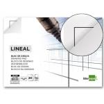 Bloc dibujo Liderpapel lineal encolado 230x325 mm 20 hojas 130 gr/m2 con recuadro