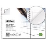 Bloc dibujo Liderpapel lineal espiral 230x325 mm 20 hojas 130 gr/m2 con recuadricula de 2 taladros