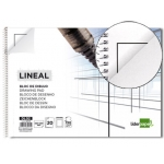 Bloc dibujo Liderpapel lineal espiral 230x325 mm 20 hojas 130 gr/m2 con recuadro