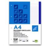 Bloc encolado Liderpapel cuadrícula de 5 mm color azul tamaño A4 apaisado 100 hojas 70 gr/m2