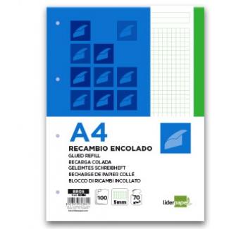 Bloc encolado Liderpapel cuadrícula de 5 mm color verde tamaño A4 apaisado 100 hojas 70 gr/m2