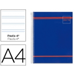 Bloc espiral Liderpapel microperforado tamaño A4 160 hojas pautado horizontal 7 mm 4taladrcolour line color azul papel 70grs