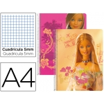 Bloc espiral Liderpapel microperforado tamaño A4 80 hojas cuadrícula de barbie tapa cartóncillo 60 grs