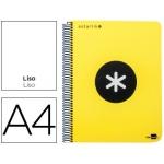 Bloc espiral Liderpapel tamaño A4 micro antartik tapa polipropileno 120 hojas 100 gr/m2 liso con bandas 4 taladros color amarillo