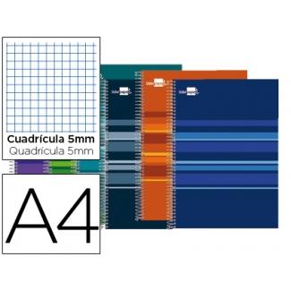 Bloc espiral Liderpapel tamaño A4 micro classic tapa forrada 160 hojas 60 gr/m2 cuadrícula de 5 mm 5 bandas 4 taladros colores surtidos