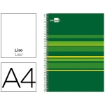 Bloc espiral Liderpapel tamaño A4 micro classic tapa forrada 160 hojas 60 gr/m2 liso 5 bandas 4 taladros color verde