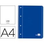 Bloc espiral Liderpapel tamaño A4 micro serie color azul tapa cartóncillo 80 hojas 70 gr/m2 liso con margen 4 taladros azul