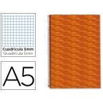 Bloc espiral Liderpapel tamaño A5 micro multilider tapa forrada 140h 70 gr/m2 cuadrícula de 5 mm 5 bandas 6 taladros color naranja