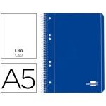 Bloc espiral Liderpapel tamaño A5 micro serie color azul tapa cartóncillo 80 hojas 70 gr/m2 liso 6 taladros azul