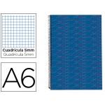 Bloc espiral Liderpapel tamaño A6 micro multilider tapa forrada 140h 70 gr/m2 cuadrícula de 5 mm 5 bandas color azul