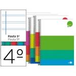 Bloc espiral Liderpapel tamaño cuarto dream tapa extradura 80 hojas 80 gr/m2 pauta 2,5 mm con margen colores surtidos