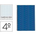 Bloc espiral Liderpapel tamaño cuarto multilider tapa forrada 80 hojas 70 gr/m2 cuadrícula de 4 mm con margen color azul