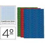 Bloc espiral Liderpapel tamaño cuarto multilider tapa forrada 80 hojas 70 gr/m2 milimetrado 2 mm con margen colores surtidos