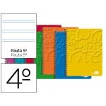 Bloc espiral Liderpapel tamaño cuarto write tapa cartóncillo 40h 60 gr/m2 pauta 2.5 mm con margen colores surtidos
