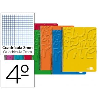 Bloc espiral Liderpapel tamaño cuarto write tapa cartóncillo 80 hojas 60 gr/m2 cuadrícula de 3 mm con margen colores surtidos