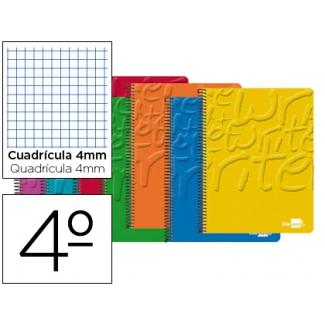 Bloc espiral Liderpapel tamaño cuarto write tapa cartóncillo 80 hojas 60 gr/m2 cuadrícula de 4 mm con margen colores surtidos