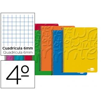 Bloc espiral Liderpapel tamaño cuarto write tapa cartóncillo 80 hojas 60 gr/m2 cuadrícula de 6 mm con margen colores surtidos