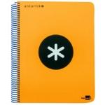 Bloc espiral Liderpapel tamaño folio antartik tapa extradura 80 hojas 100 gr/m2 cuadrícula de 4 mm con margencolor color naranja fluorescente