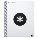 Bloc espiral Liderpapel tamaño folio antartik tapa extradura 80 hojas 100 gr/m2 horizontal con margencolor color blanco