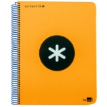 Bloc espiral Liderpapel tamaño folio antartik tapa extradura 80 hojas 100 gr/m2 horizontal con margencolor color naranja fluorescente