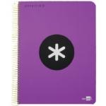 Bloc espiral Liderpapel tamaño folio antartik tapa polipropileno 80 hojas 100 gr/m2 horizontal con margen color violeta