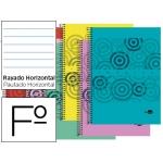 Bloc espiral Liderpapel tamaño folio classic tapa polipropileno 80 hojas 60 gr/m2 horizontal con margen colores surtidos
