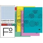 Bloc espiral Liderpapel tamaño folio classic tapa polipropileno 80 hojas 60 gr/m2 milimetrado 2 mm con margen colores surtidos