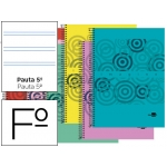 Bloc espiral Liderpapel tamaño folio classic tapa polipropileno 80 hojas 60 gr/m2 pauta 2.5 mm con margen colores surtidos