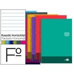 Bloc espiral Liderpapel tamaño folio discover tapa cartóncillo 80 h80 gr/m2 horizontal con margen colores surtidos