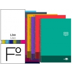 Bloc espiral Liderpapel tamaño folio discover tapa cartóncillo 80 h80 gr/m2 liso sin margen colores surtidos