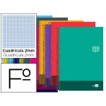 Bloc espiral Liderpapel tamaño folio discover tapa cartóncillo 80 h80 gr/m2 milimetrado colores surtidos