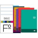 Bloc espiral Liderpapel tamaño folio discover tapa cartóncillo 80 h80 gr/m2 pauta estrecha 2,5 mm con margen colores surtidos