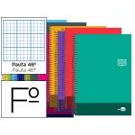 Bloc espiral Liderpapel tamaño folio discover tapa cartóncillo 80 h80 gr/m2 rayado Nº 46 colores surtidos