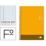 Bloc espiral Liderpapel tamaño folio discover tapa cartóncillo 80 hojas 80 gr/m2 cuadrícula de 4 mm con margen color naranja