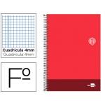 Bloc espiral Liderpapel tamaño folio discover tapa cartóncillo 80 hojas 80 gr/m2 cuadrícula de 4 mm con margen color rojo