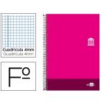 Bloc espiral Liderpapel tamaño folio discover tapa cartóncillo 80 hojas 80 gr/m2 cuadrícula de 4 mm con margen color rosa