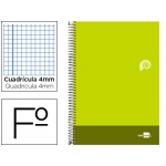 Bloc espiral Liderpapel tamaño folio discover tapa cartóncillo 80 hojas 80 gr/m2 cuadrícula de 4 mm con margen color verde lima