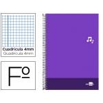 Bloc espiral Liderpapel tamaño folio discover tapa cartóncillo 80 hojas 80 gr/m2 cuadrícula de 4 mm con margen color violeta