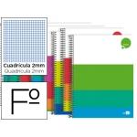 Bloc espiral Liderpapel tamaño folio dream tapa extradura 80 hojas 80 gr/m2 milimetrado colores surtidos