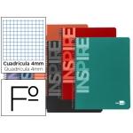 Bloc espiral Liderpapel tamaño folio inspire tapa extradura 160 hojas 60 gr/m2 cuadrícula de 4 mm con margen colores surtidos