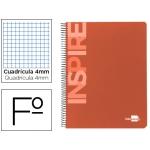 Bloc espiral Liderpapel tamaño folio inspire tapa extradura 80 hojas 60 gr/m2 cuadrícula de 4 mm con margen color naranja