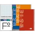 Bloc espiral Liderpapel tamaño folio inspire tapa extradura 80 hojas 60 gr/m2 cuadrícula de 4 mm con margen para zurdos colores surtidos