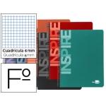 Bloc espiral Liderpapel tamaño folio inspire tapa extradura 80 hojas 60 gr/m2 cuadrícula de 6 mm con margen colores surtidos