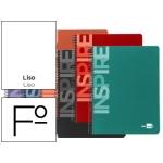 Bloc espiral Liderpapel tamaño folio inspire tapa extradura 80 hojas 60 gr/m2 liso colores surtidos