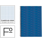 Bloc espiral Liderpapel tamaño folio multilider tapa forrada 80 hojas 70 gr/m2 cuadrícula de 4 mm con margen color azul