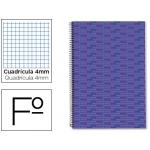 Bloc espiral Liderpapel tamaño folio multilider tapa forrada 80 hojas 70 gr/m2 cuadrícula de 4 mm con margen color lila