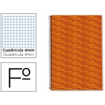 Bloc espiral Liderpapel tamaño folio multilider tapa forrada 80 hojas 70 gr/m2 cuadrícula de 4 mm con margen color naranja